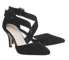 f5bd4b204230 Office Wallace Point Court Shoes Black Suede - Mid Heels