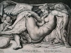 Cornelis Bos (fl. 1530–1555)  Title Leda and the Swan Date:from 1530 until 1550 Height: 302 mm (11.89 in). Width: 401 mm (15.79 in).