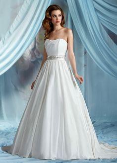 A-Line Sweetheart Neckline Strapless with Beading Zipper Sweep Train Soft Satin Wedding Dress