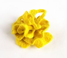 Felted flower yellow brooch hand felted brooch lemon by Dagneart, $19.00