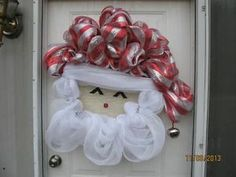 Cute Santa Face Deco Mesh Wreath | eBay