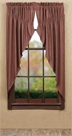 Bancroft Plaid Prairie  Curtain Window Topper | valance in a swag style : red check plaid pattern | Best Window Treatments