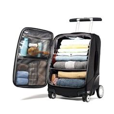 Love this suitcase. Samsonite EZ Cart Spinner - luggage with lots of organization and a different look! Travel Luggage, Luggage Bags, Travel Bags, Best Carry On Luggage, Luggage Packing, Kids Luggage, Packing Tips For Travel, Travel Essentials, Travel Ideas
