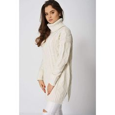 Beige Cable Knit Jumper with Roll Neck