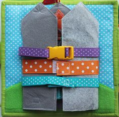 """Maybe buckles that open up to zippers and keys? Handmade by mom: Developmental book for boys """"Bear-Traveler"""" . Diy Quiet Books, Baby Quiet Book, Felt Quiet Books, Silent Book, Quiet Book Patterns, Baby Boy Shoes, Toddler Books, Book Quilt, Busy Book"""