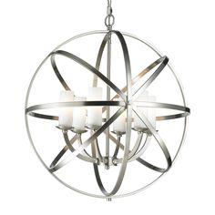 Z-Lite Aranya 23.82-in 6-Light Brushed Nickel Cage Chandelier