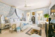 Blue Toile bedroom in Patricia Altschul's Home in Charleston Home + Design - The Glam Pad