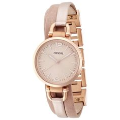 Fossil Women's 'Georgia' Rose Goldtone Leather Watch | Overstock.com Shopping - Big Discounts on Fossil Women's Fossil Watches