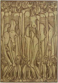 Dmochowski Gallery - Sala 3. Rysunki na pół abstrakcyjne. Lata 50-te - Zdzislaw Beksinski