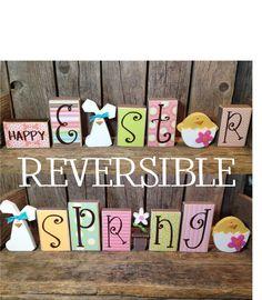 Happy Easter / Spring REVERSIBLE block set wood block home decor holiday bunny chick egg flower. $42.00, via Etsy.