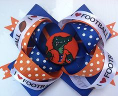 Hey, I found this really awesome Etsy listing at http://www.etsy.com/listing/102657954/girls-florida-gators-hair-bow