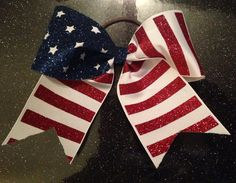 Red White and Blue Flag Glitter Cheer Bow