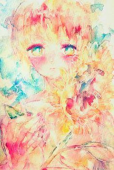 ひまわり #illustration #original #watercolor #flower #花