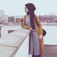 Versatile Pieces. Mustard Maxi Cardigan Black & White Check Shirt Dress Black Maxi Modal Hijab | INAYAH www.inayahcollection.com