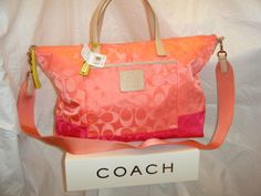 NWT Coach Legacy Colorblock Signature Weekend tote. Starting at $20 on Tophatter.com!