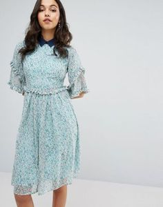 Lost Ink Double Frill Dress With Contrast Collar