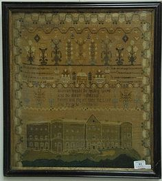 """Needlework poem sampler depicting a large hospital and small school house surrounded by poems, flowers, and a border """"Mary Clayton B..."""