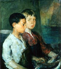 """""""Fisher Boys,"""" Charles Webster Hawthorne, oil on canvas, 30 x 25"""", Peabody Art Collection, Maryland."""