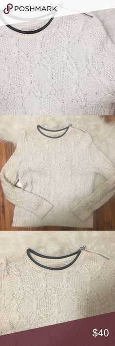 💥 LOFT Cable Knit Sweater with Leather Trim only worn a couple of times. super cozy and warm white sweater with leather trim around the neck and a zipper on one shoulder. one of the coziest sweaters ever! 52% cotton, 22% nylon, 20% rayon, 6% camel hair LOFT Sweaters