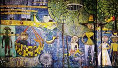 "Friedensreich Hundertwasser Saint-Mande Seine May 1950 Mural 9' x 16'5""  Community Synagogue Sands Point, Long Island"