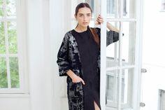 Black Friday / Black And Silver Woman Coat /  Elegant Oversize Coat With Pockets / kimono sleeves coat