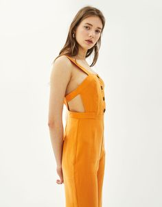 Long jumpsuit with thin straps - null - Bershka Indonesia
