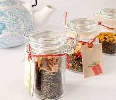 Buy dried tea leaves and dried fruit to make yummy teas