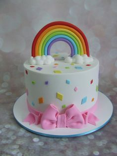 Rainbow cake inside and out! This cake was made for a little girl who requested it have a rainbow and coloured shaped diamonds! Pretty Cakes, Cute Cakes, Beautiful Cakes, Amazing Cakes, Rainbow Birthday Party, Birthday Cake Girls, Cupcake Cakes, Fondant Cakes, Fondant Toppers