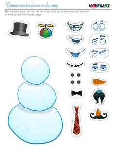 free printable snowman with facial features and hair options to cut out and decorate him with Christmas Worksheets, Christmas Games, Christmas Activities, Christmas Printables, Kids Christmas, Christmas Crafts, Xmas, Winter Activities, Toddler Activities