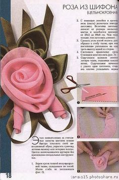 rose- It's not in English, but the pictures look self explanatory. by audrey Flowers of satin organza Decorative Flowers and not only . of fabric, fur, leather . 10 more Pins for your Bridal board Ribbon Art, Diy Ribbon, Fabric Ribbon, Ribbon Crafts, Flower Crafts, Fabric Crafts, Ribbon Rose, Organza Ribbon, Organza Flowers