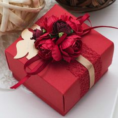 Red Wedding Favors Candy Box with Red Ribbons and by sweetywedding,