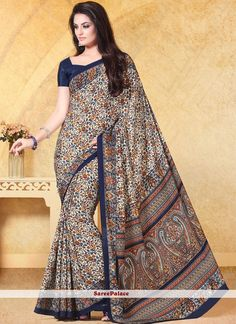 Prodigious Cream Print Work Faux Crepe Casual Saree