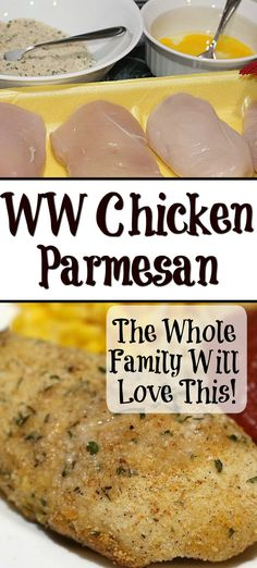 This Weight Watchers Chicken Parmesan Recipe is Only 1 Freestyle Smartpoint on WW! This is a family approved easy dinner recipe! Ww Chicken Parmesan Recipe, Weight Watchers Chicken Parmesan Recipe, Easy Chicken Dinner Recipes, Easy Meals, Baked Chicken, Recipes Dinner, Poulet Weight Watchers, Weight Watchers Meal Plans, Freestyle