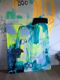 Mette Lindgerb - love the fluorescent green with the indigo!