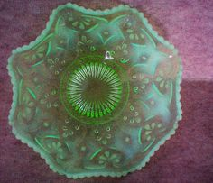 Opalescent Vaseline Glass Ruffled Edge Bowl from manorsfinest on Ruby Lane!  my most favorite!