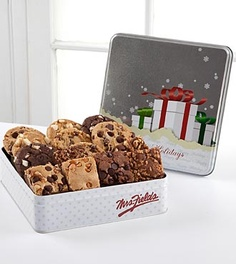 Mrs. Fields® Holiday Cookie Tin - 8 Cookies & 6 Brownies