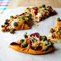 Whole Wheat Pizza with Broccoli. This sounds like a great and tasty pizza and when you bake broccoli it becomes sweet and wonderful! So much better then steaming or raw and when you top with parm and evoo its super!