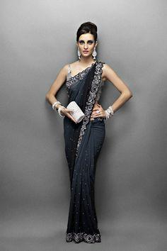 Grey and Black Shaded Sari with Crystal Border