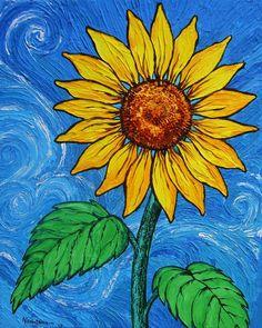 paintings of sunflowers  | Sunflower Painting by Juan Alcantara - A Sunflower Fine Art Prints ...