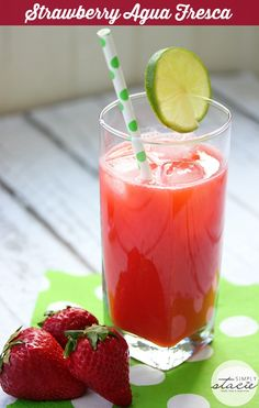 Strawberry Agua Fresca - healthy and refreshing! Easy to make with water, lime juice and strawberries.