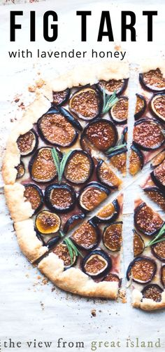 Fresh Fig Tart with Lavender Honey ~ While not VEGAN - because of the butter - this crisp galette with a jammy fig filling can go anywhere from breakfast and brunch to dessert. The homemade lavender honey is worth the price of admission. Honey Recipes, Tart Recipes, Dessert Recipes, Desserts, Pizza Recipes, Vegan Brunch Recipes, Vegetarian Recipes, Fig Tart, Lavender Honey
