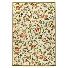Hand-hooked wool rug with a multicolor floral motif.  Product: RugConstruction Material: 100% Virgin wool