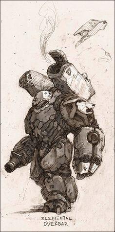 """Ghost Bear Elemental """"Dvergar"""" by *Tabnir on deviantART Character Concept, Character Art, Cyberpunk, Illustrations, Illustration Art, Arte Robot, Robot Concept Art, Tatoo Art, Sci Fi Art"""