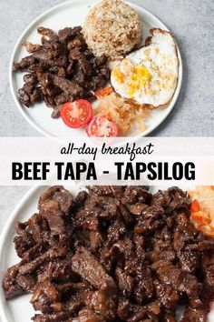 The marinade for this Filipino Beef Tapa tapsilog has a delicious combination of sweet, sour, and salty flavors - it makes me want to eat more! Serve with garlicky fried rice, crispy fried egg, fresh tomatoes and atchara - perfect for breakfast or any time of the day. Beef Tapa Recipe Filipino, Filipino Dishes, Filipino Food, Easy Filipino Recipes, Beef Marinade, Marinated Beef, Meat Recipes, Asian Recipes, Cooking Recipes