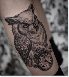Black And Grey Owl With Clock Tattoo On Leg