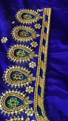 Mirror Work Blouse Design, Patch Work Blouse Designs, Maggam Work Designs, Peacock Embroidery Designs, Hand Embroidery Design Patterns, Bridal Blouse Designs, Blouse Neck Designs, Traditional Blouse Designs, Bead Embroidery Tutorial