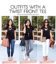 Three Outfits With a Black T-Shirt