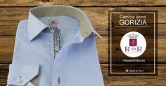 Men's shirt GORIZIA Light blue shirt in open weave cotton with color potato buttonholes Contrast style 100% cotton #Mensshirt - Camicia Uomo GORIZIA Camicia celeste in cotone armaturato asole color #patata Contrasto Stile 100% cotone #Camiciauomo