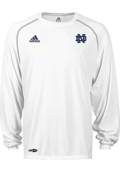 3bce05097 Notre Dame Fighting Irish Adidas Performance T-Shirt - White Fighting Irish  Climalite Long Sleeve