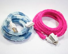 Crochet iPhone Charger - 100% Cotton iPhone Sync/Charge Cable in Custom Colors. $25.00, via Etsy.